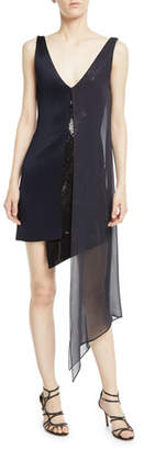 Galvan Sleeveless V-Neck High-Shine Jersey Cocktail Dress w/ Sequins & Chiffon Overlay