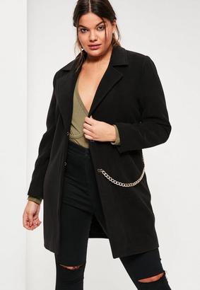 Plus Size Black Faux Wool Chain Detail Coat $80 thestylecure.com