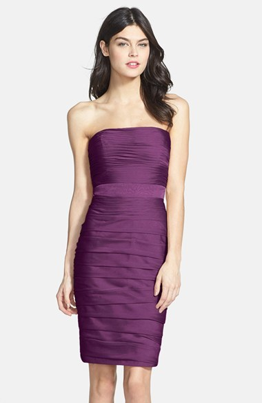 Monique Lhuillier Bridesmaids Ruched Strapless Cationic Chiffon Dress (Nordstrom Exclusive) (Regular & Plus Size)