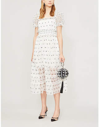 Self-Portrait Short-sleeved floral-lace midi dress