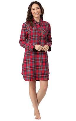 571e5cca7c PajamaGram Flannel Nightgown Soft Plaid - Sleep Shirt for Women