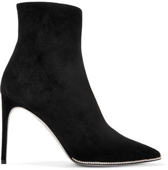 Faux Pearl-embellished Suede Ankle Boots - Black