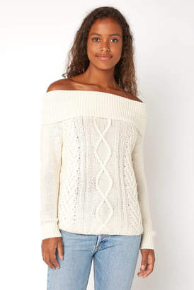 Billabong Off Shore Off The Shoulder Cabled Sweater