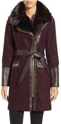 Women's Via Spiga Faux Leather & Faux Fur Trim Belted Wool Blend Coat $318 thestylecure.com