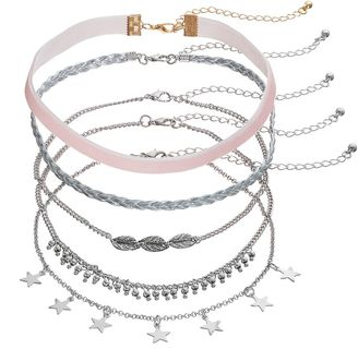 Braided Ribbon, Stars, Feather, Velvet & Shaky Bead Choker Necklace Set $22 thestylecure.com