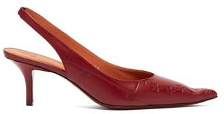 Vetements Passport Leather Kitten Heels - Womens - Burgundy