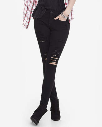 Express Petite Black Mid Rise Distressed Stretch Jean Leggings