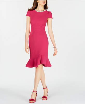 Betsey Johnson Pearl-Trim Trumpet Dress