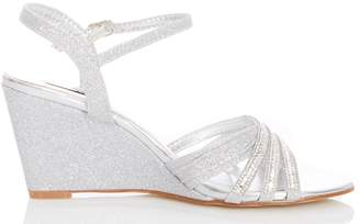 98326c8a680a8 Dorothy Perkins Womens *Quiz Silver Diamante Wedge Sandals
