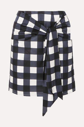 Mother of Pearl Tie-front Checked Cotton And Silk-blend Mini Skirt - Navy