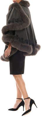 Gorski Fox-Trim Embroidered Wool-Blend Cape