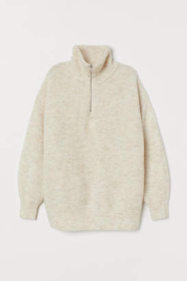 H&M Sweater with High Collar - White
