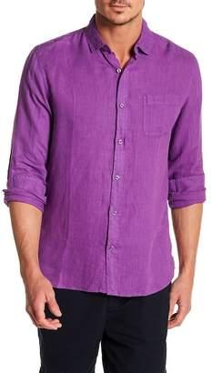 Natural Blue Linen Long Sleeve Traditional Fit Shirt