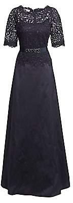 Teri Jon by Rickie Freeman Women's Lace & Taffeta A-Line Gown