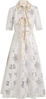 Hugo floral-brocade cotton-blend dress