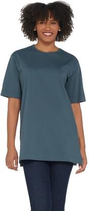 Denim & Co. Essentials Cotton Jersey Oversized Scoopneck Tee
