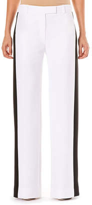 Carolina Herrera Low-Rise Wide-Leg Pants w/ Contrast Side Stripe