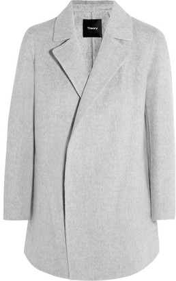 Theory - Clairene Brushed Wool And Cashmere-blend Jacket - Gray $595 thestylecure.com