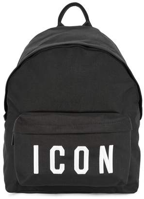 DSQUARED2 Black 'ICON' Embroidered Backpack