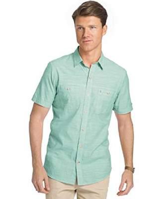 Izod Men's Saltwater Dockside Chambray Solid Short Sleeve Shirt |