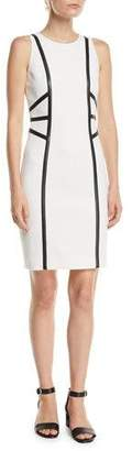 Michael Kors Sleeveless Stretch-Boucle Crepe Dress w/ Leather Trim