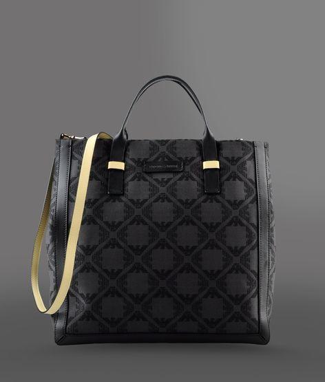 Emporio Armani Fabric Shopper With Calfskin Details