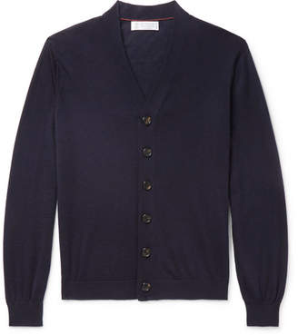 Brunello Cucinelli Cashmere and Silk-Blend Cardigan - Men - Navy