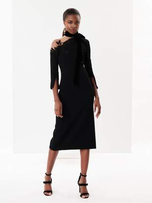 Oscar de la Renta Illusion-Shoulder Stretch-Wool Crepe Cocktail Dress