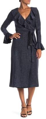 Free People One More Time Metallic Lurex Wrap Dress