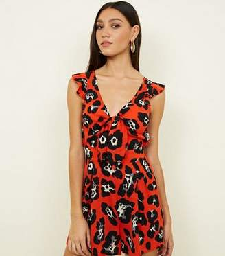 8506f306c8c9 at New Look · Cameo Rose Red Animal Print Cut Out Playsuit