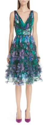 Marchesa Embellished Floral Print Organza A-Line Dress