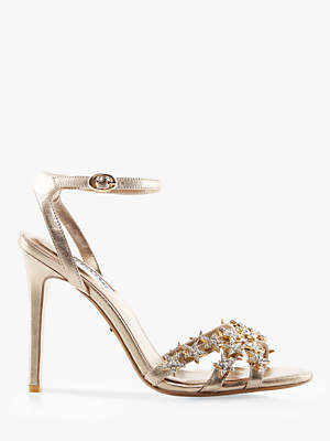 Dune Magick Star Stiletto Heel Sandals, Gold Leather