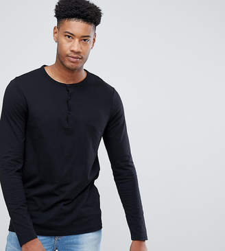 Asos DESIGN Tall long sleeve t-shirt with grandad neck in black