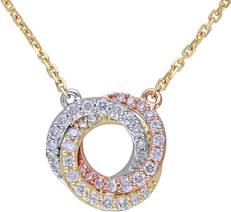 Diamond Select Cuts 14K Tri-Tone 0.25 Ct. Tw. Diamond Interlocking Circle Necklace