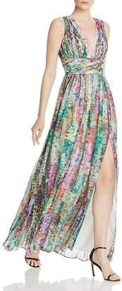Aidan Mattox Pleated Chiffon Print Dress