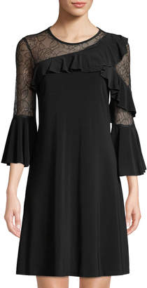 Gabby Skye 3/4-Sleeve Lace Asymmetric-Ruffle A-line Dress