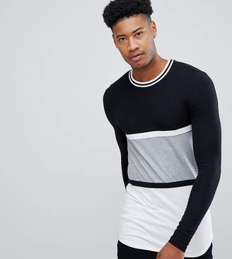 ac4fb45d Asos Design DESIGN Tall muscle fit longline long sleeve t-shirt with curved  hem in