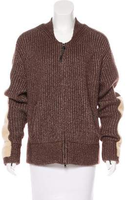 Reed Krakoff Shearling-Accented Wool Cardigan