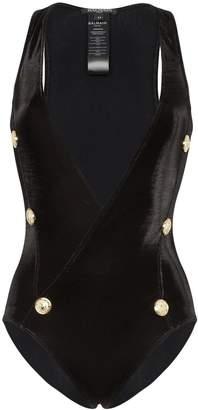 Balmain plunge-neck buttoned swimsuit