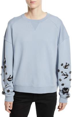 McQ Slouchy Beaded Crewneck Pullover Sweatshirt