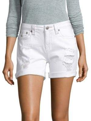 True Religion Rolled Cuff Distressed Shorts