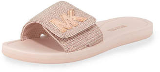 MICHAEL Michael Kors MK Glitter Chain Slide Sandals