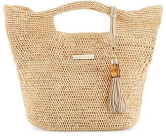Heidi Klein Grace Bay Mini Raffia Beach Bucket Bag, Neutral $270 thestylecure.com