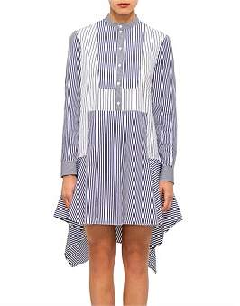 Alexander McQueen Stripe Shirting Strip Flared Dress