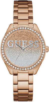 GUESS Women's Rose Gold-Tone Stainless Steel Bracelet Watch 37mm