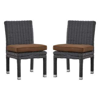 Homevance HomeVance Ravinia Charcoal Wicker Dining Chair 2-piece Set