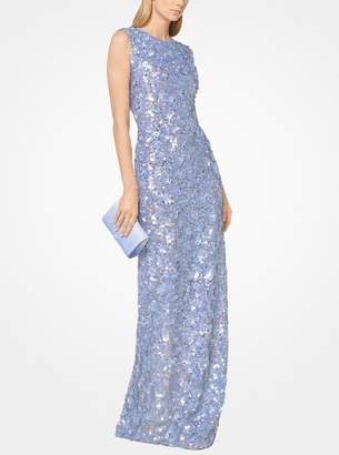 Michael Kors Floral Sequined Stretch-Tulle Gown