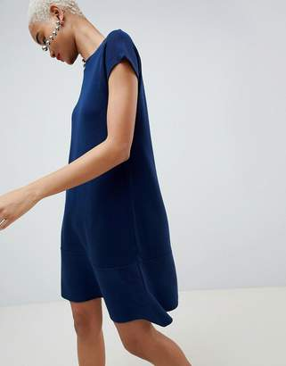 Asos Design DESIGN knitted dress with frill hem and short sleeve