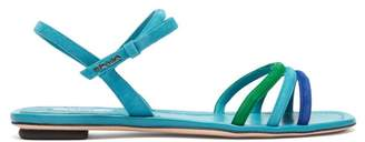 Prada Trio Strap Suede And Leather Sandals - Womens - Blue Multi