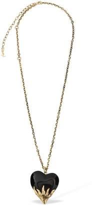 Saint Laurent Oversize Coeur Flammes Pendant Necklace